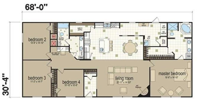 Best Beautiful 4 Bedroom Double Wide Mobile Home Floor Plans With Pictures