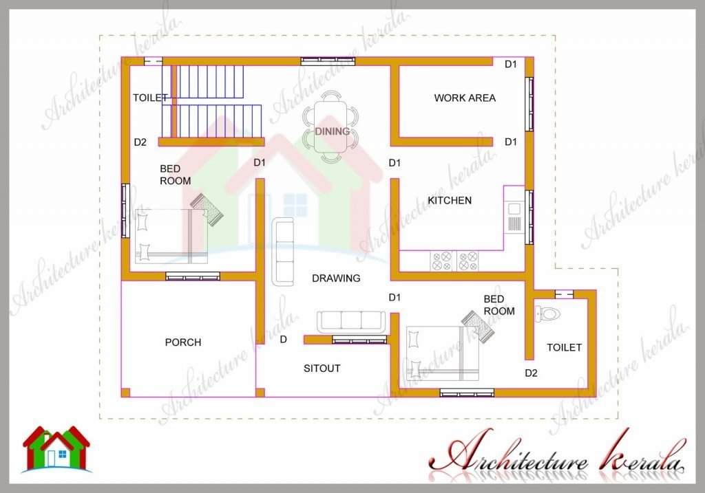 Best Elegant 2 Bedroom House Plans Kerala Style 1200 Sq Feet New Home Plans Design With Pictures