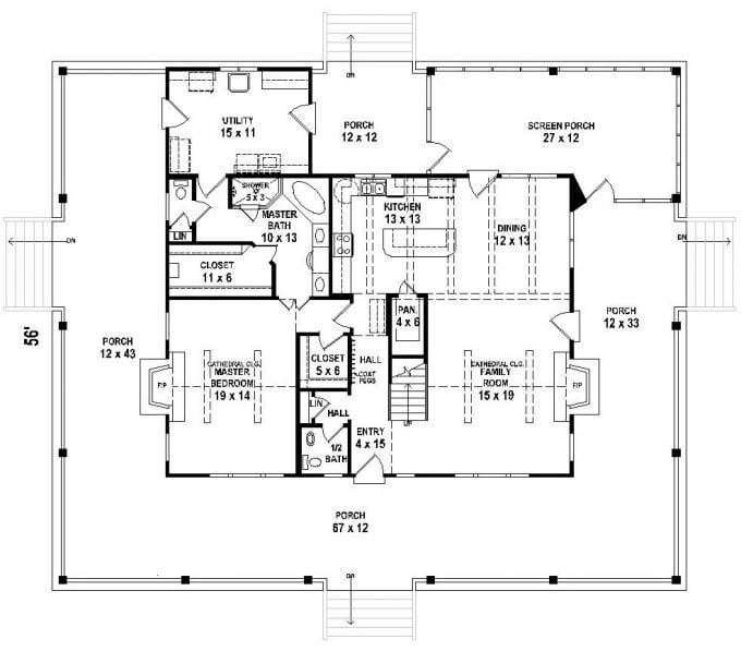 Best 2 Bedroom Floor Plans With Wrap Around Porch With Pictures