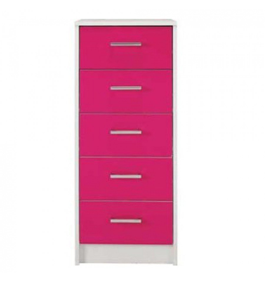 Best Sywell Pink Gloss White 5 Drawer Chest 615 8217 With Pictures
