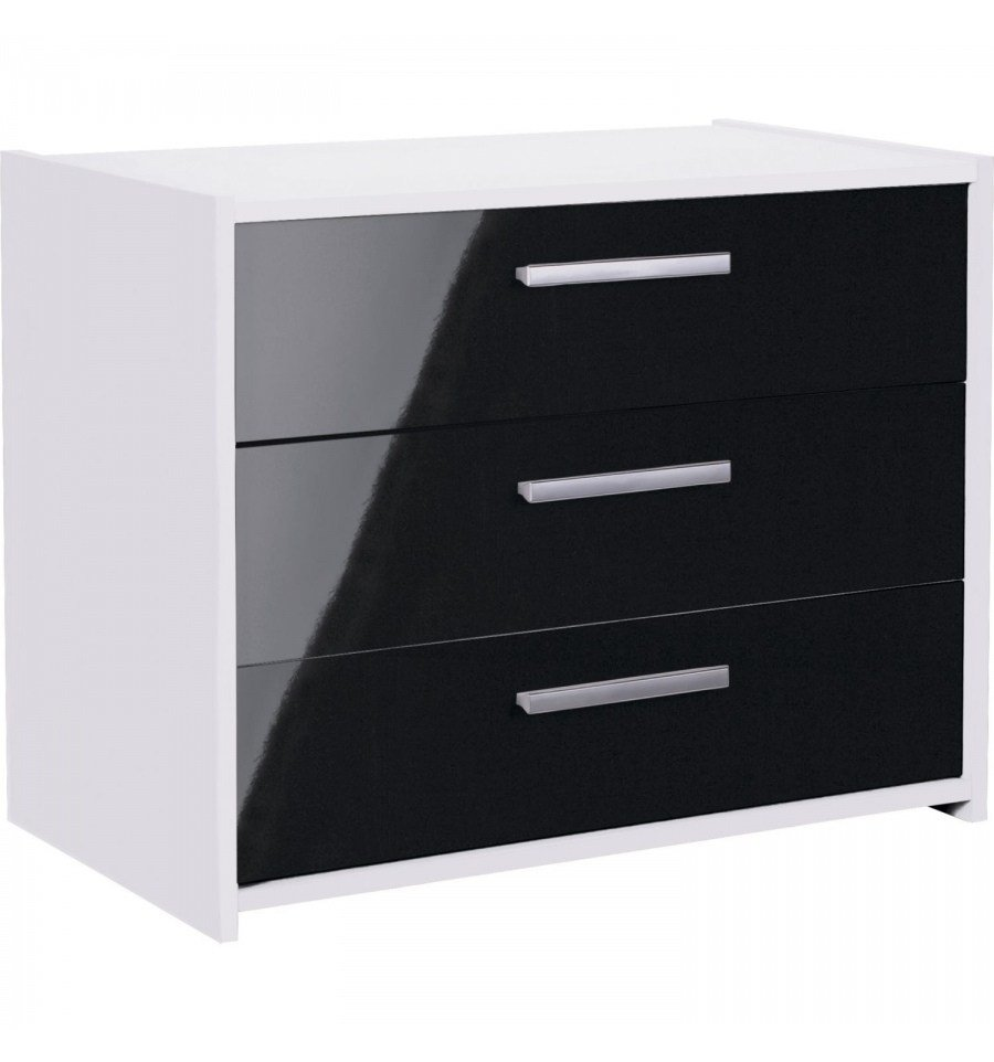 Best Sywell Black Gloss White 3 Draw Chest 643 9039 With Pictures