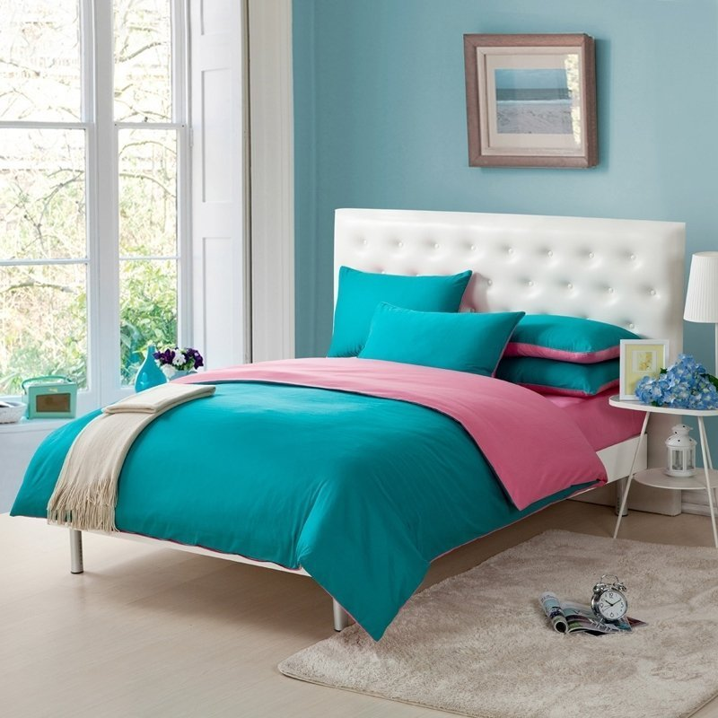 Best Pink And Teal Blue Simply Shabby Chic Full Queen Size Girls Bedroom 100 Cotton Bedding Sets With Pictures
