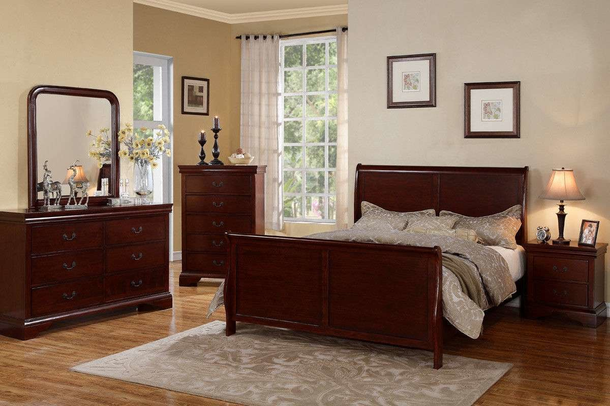 Best Cherry Wood Bed Frame Bedroom Furniture 4 Pc Beds Dresser With Pictures