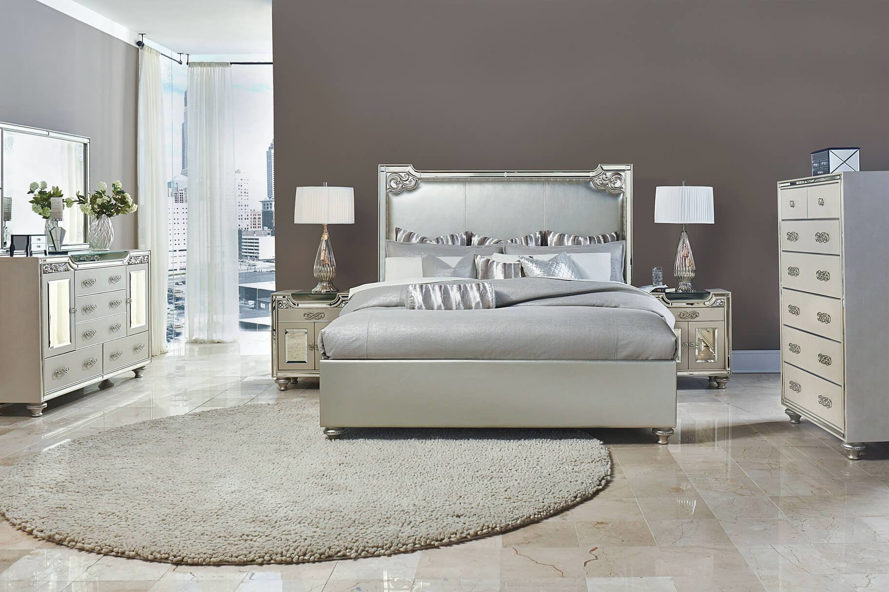 Best 4 Piece Bel Air Park Upholstered Bedroom Set Usa With Pictures