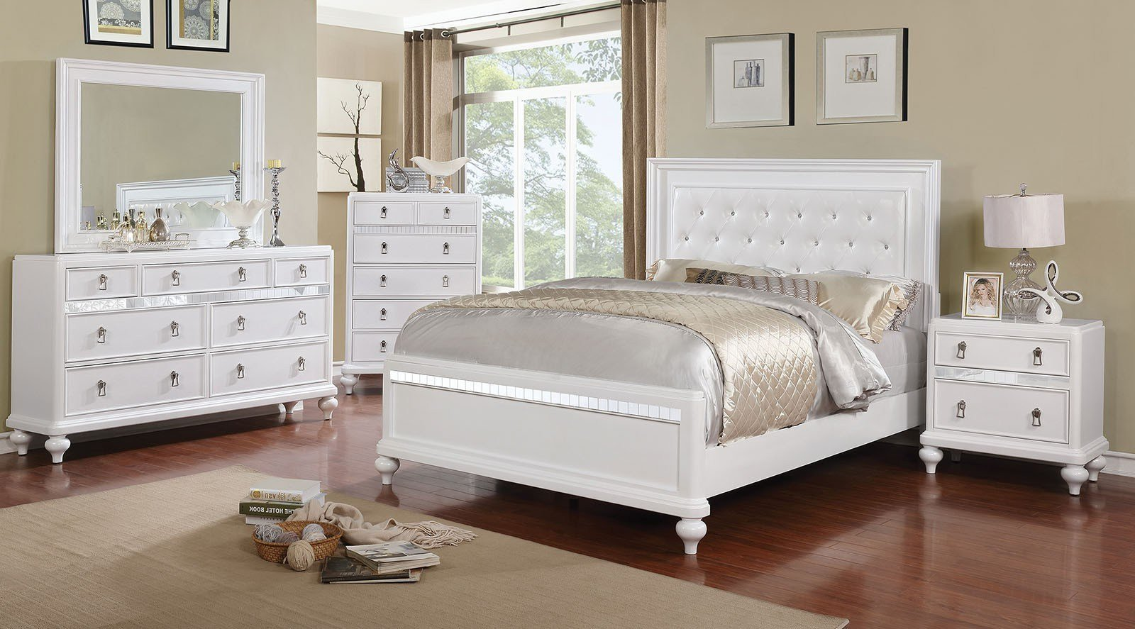 Best 4 Piece Ariston Silver Finish Modern Bedroom Set Usa With Pictures