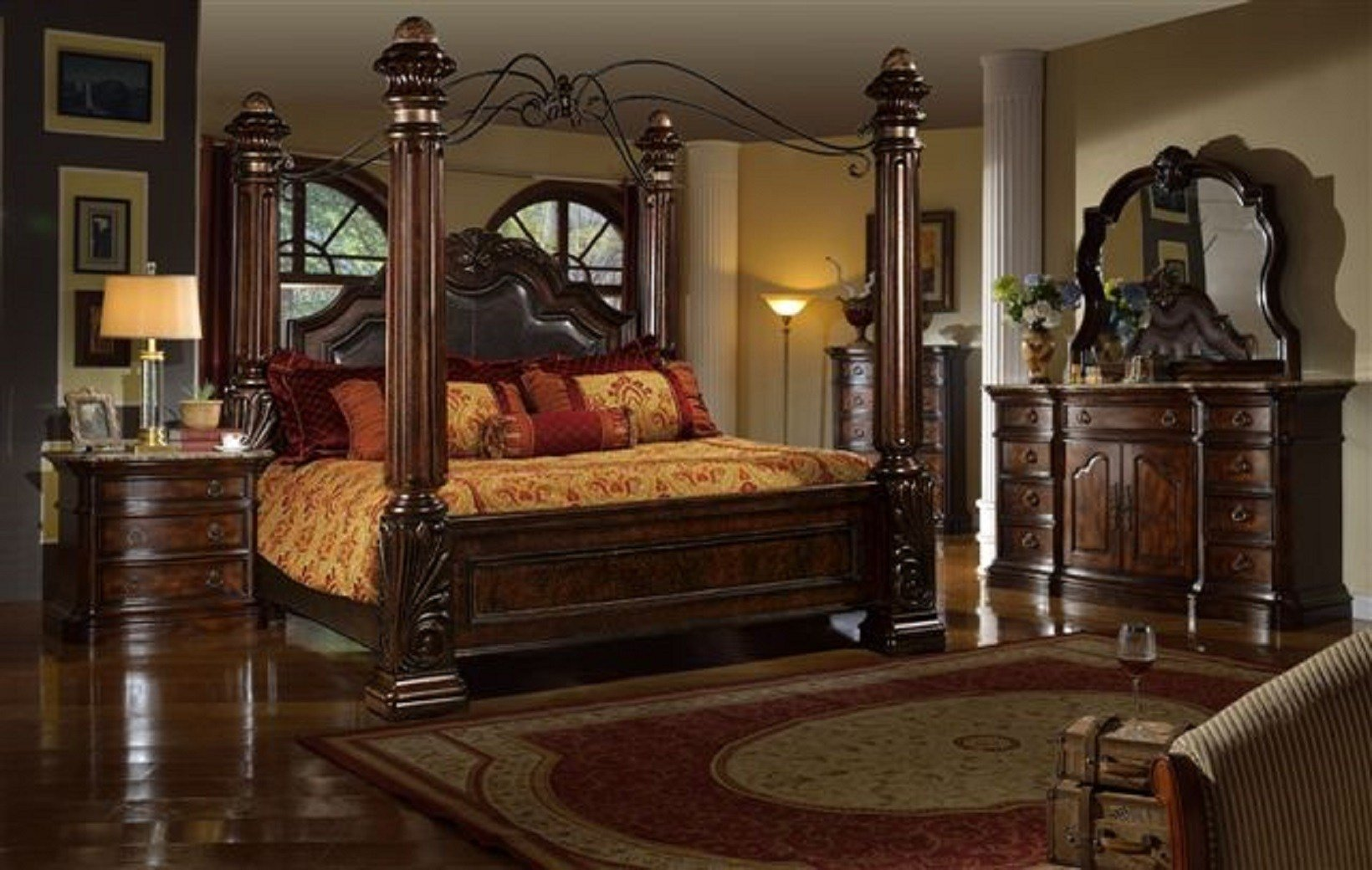 Best Mcferran Castellino Leather Poster Bedroom Set B8000 With Pictures