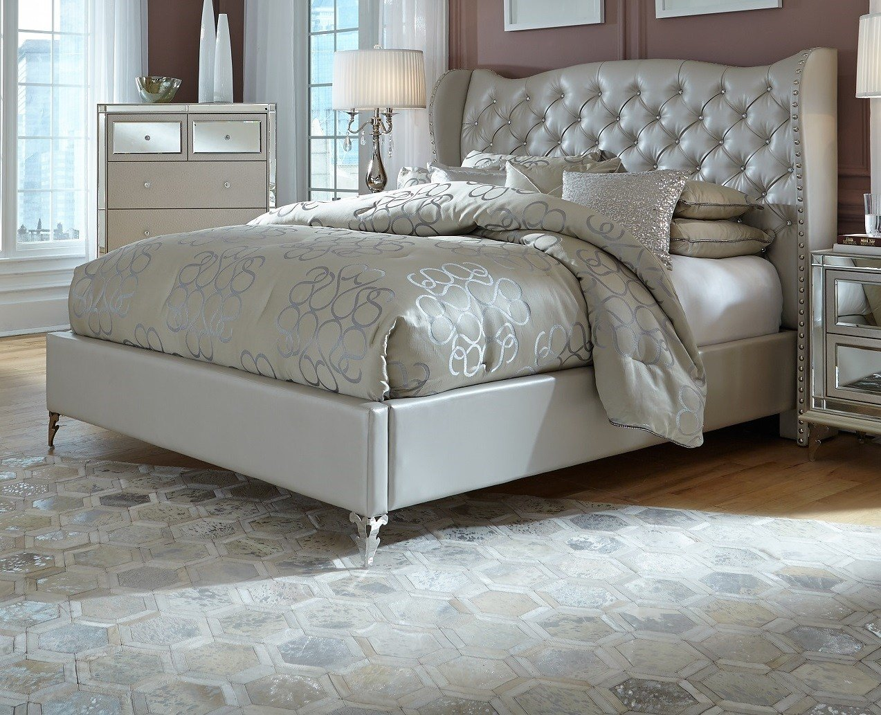 Best Aico Hollywood Loft Frost Upholstered Platform Bed With Pictures