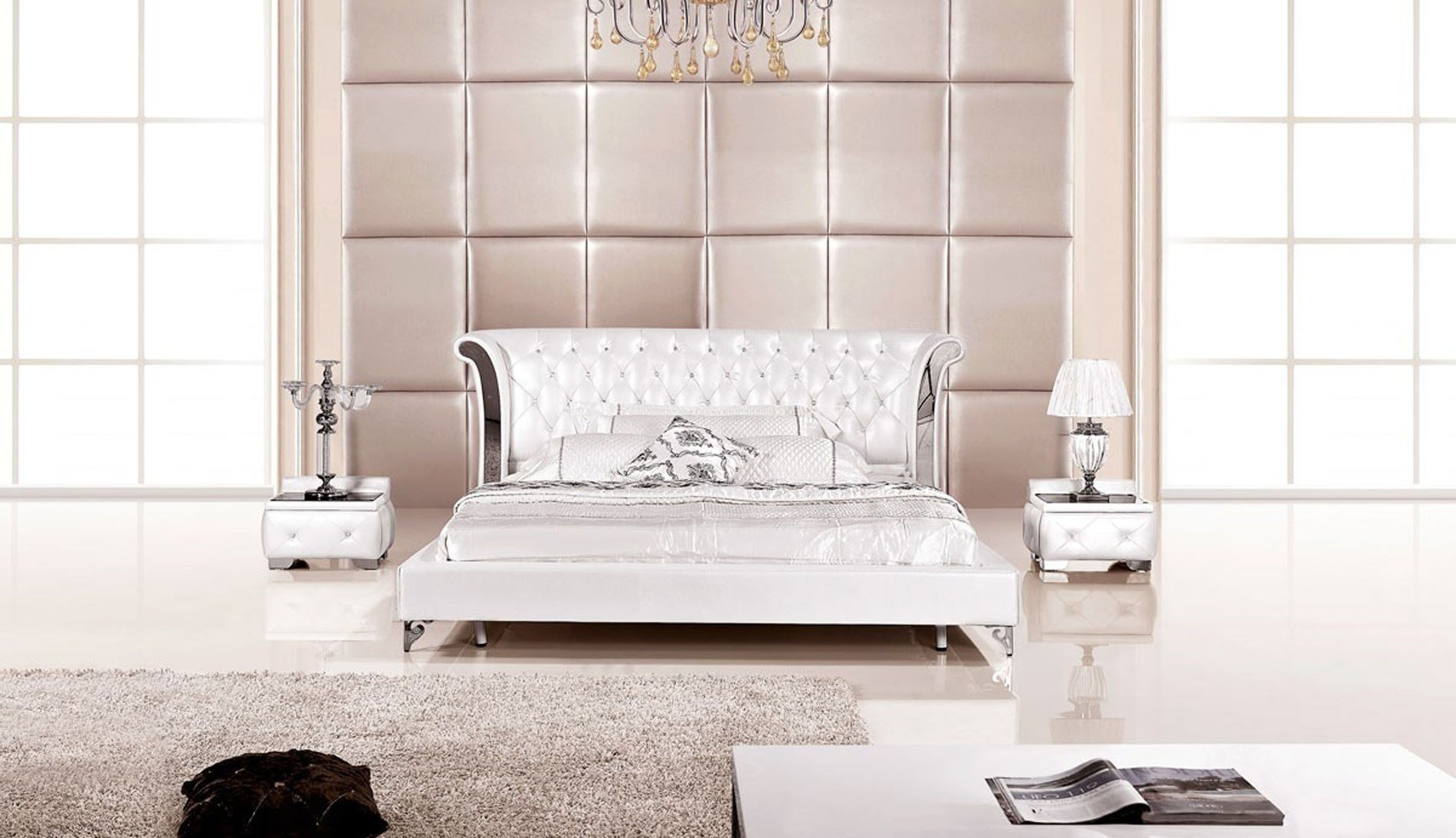 Best 3 Piece Modern Wing Genuine White Leather Bedroom Set Usa Furniture Warehouse With Pictures