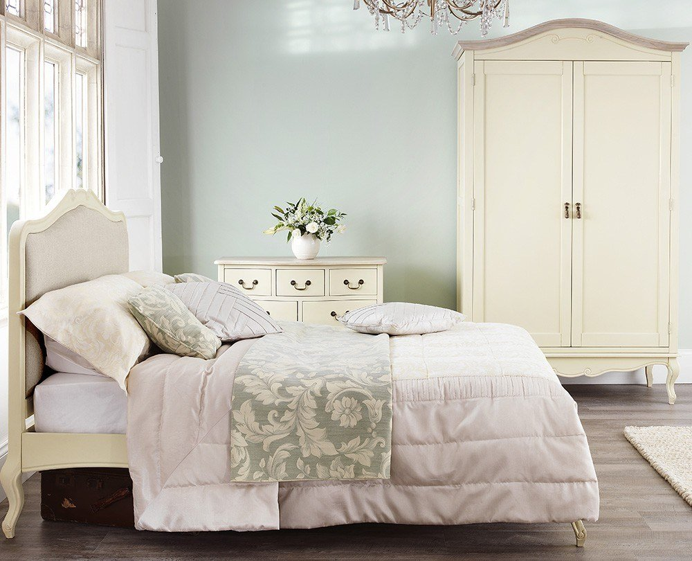 Best Shabby Chic Champagne Upholstered King Size Bed With Pictures
