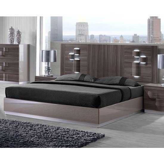 Best Swindon King Size Bed In Zebra Wood And Grey High Gloss With Pictures