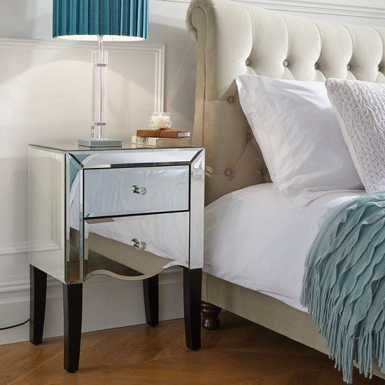 Best Gatsby Mirrored Bedside Cabinet With 2 Drawers 39275 With Pictures