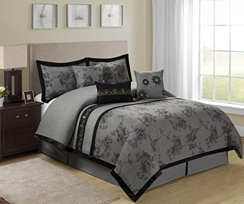 Best 7 Piece Shasta Gray Bed In A Bag Clearance Bedding With Pictures