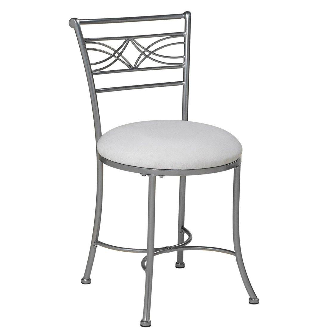 Best Chrome Vanity Stool Bedroom Bath Makeup Decor Seat Padded Cushion White Chair Ebay With Pictures