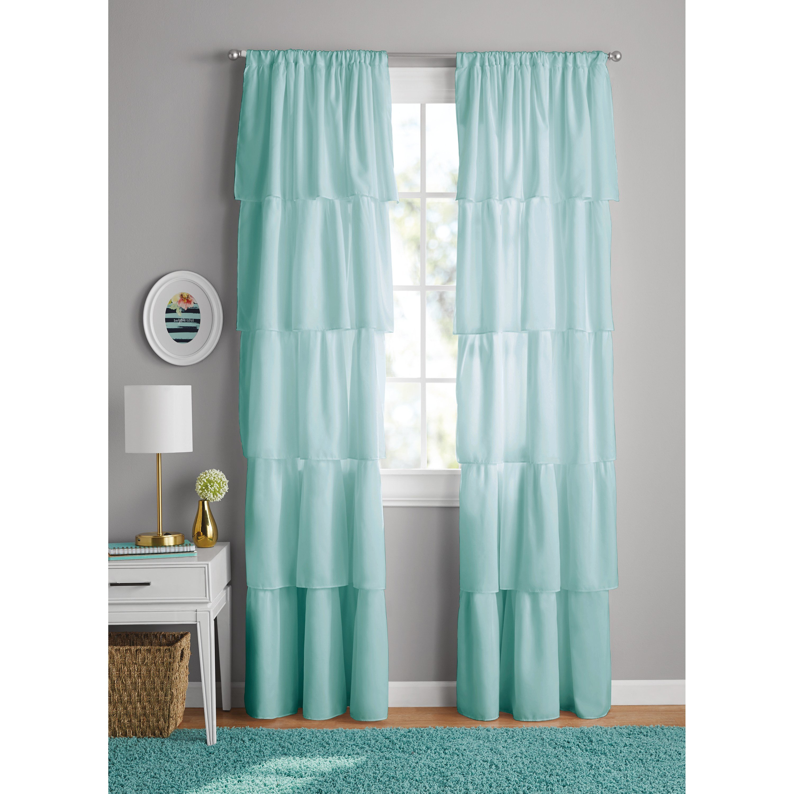 Best Your Zone Ruffle Girls Bedroom Curtain Walmart Com With Pictures