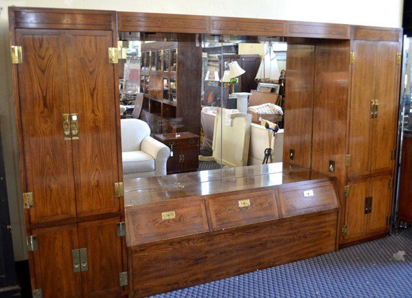 Best Henredon King Size Wall Unit Headboard Nutmeg Finish Comp With Pictures
