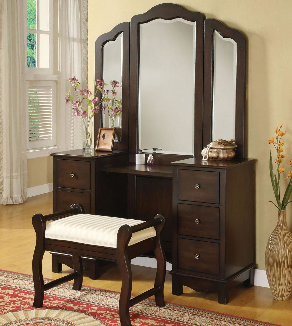 Best Acme Furniture Annapolis Vanity Set With Upholstered Stool Del Sol Furniture Vanity With Pictures