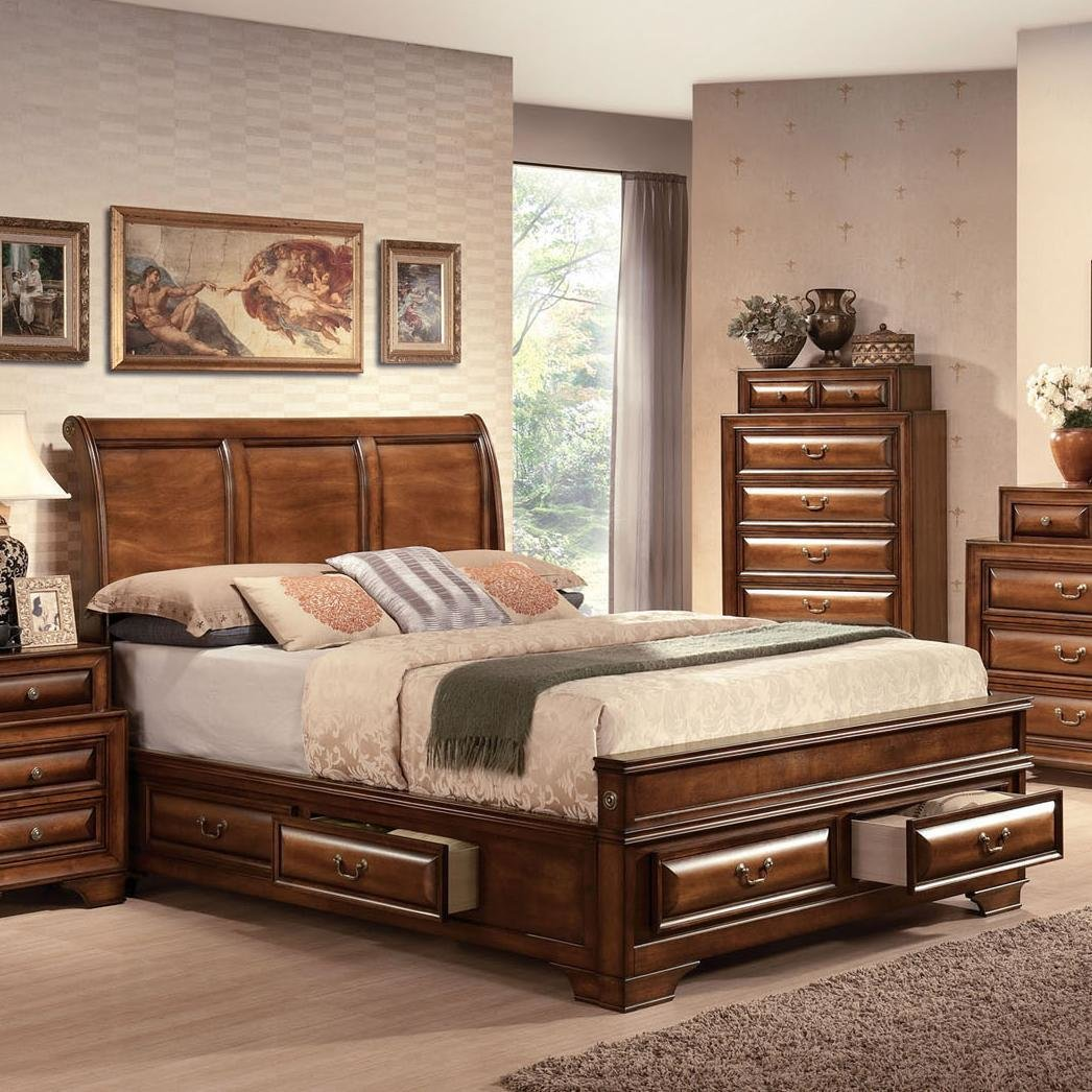 Best Acme Furniture Konane Traditional Sleigh Queen Bed W Storage Drawers Dream Home Furniture With Pictures