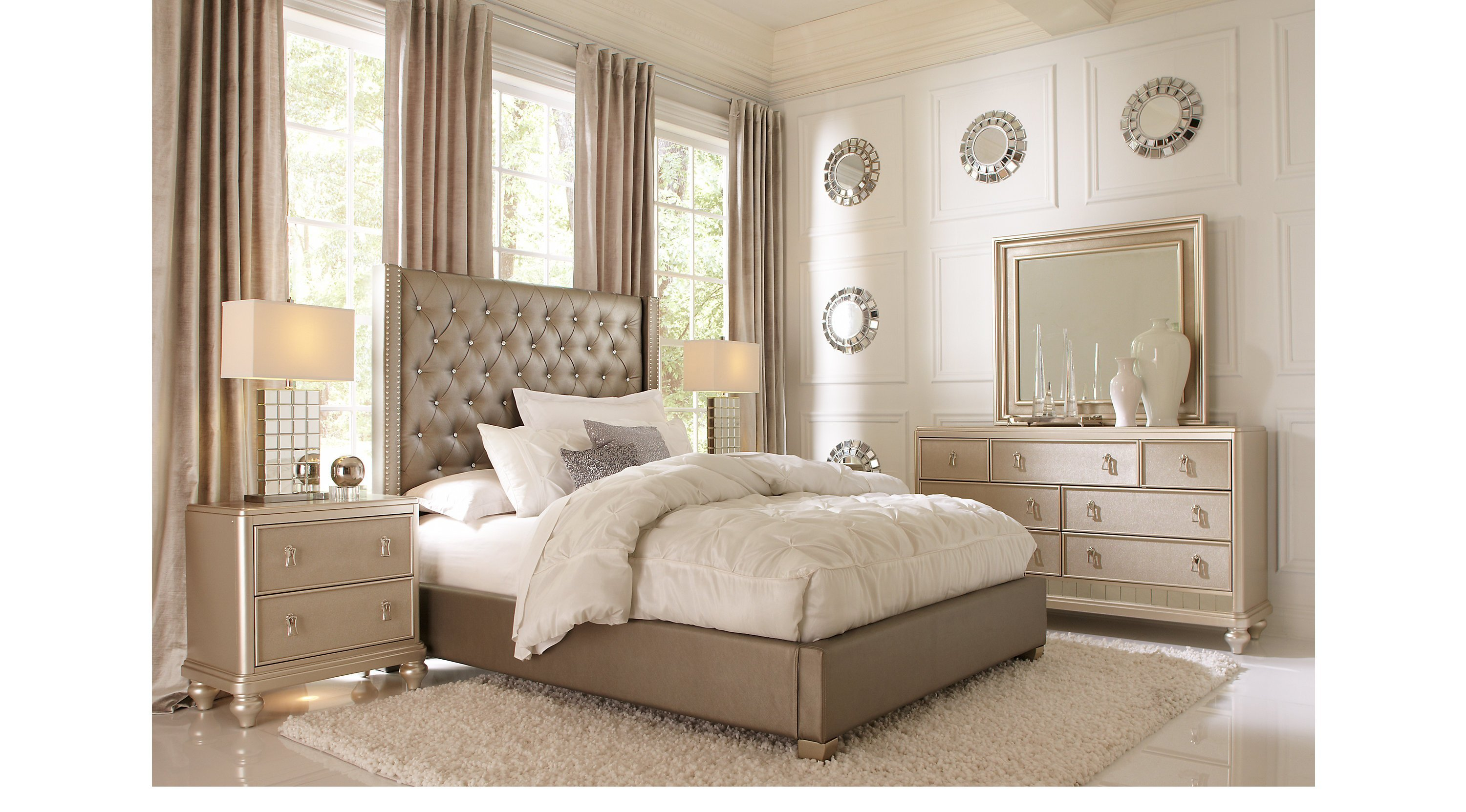Best Paris Gray 7 Pc Queen Bedroom Upholstered Contemporary With Pictures