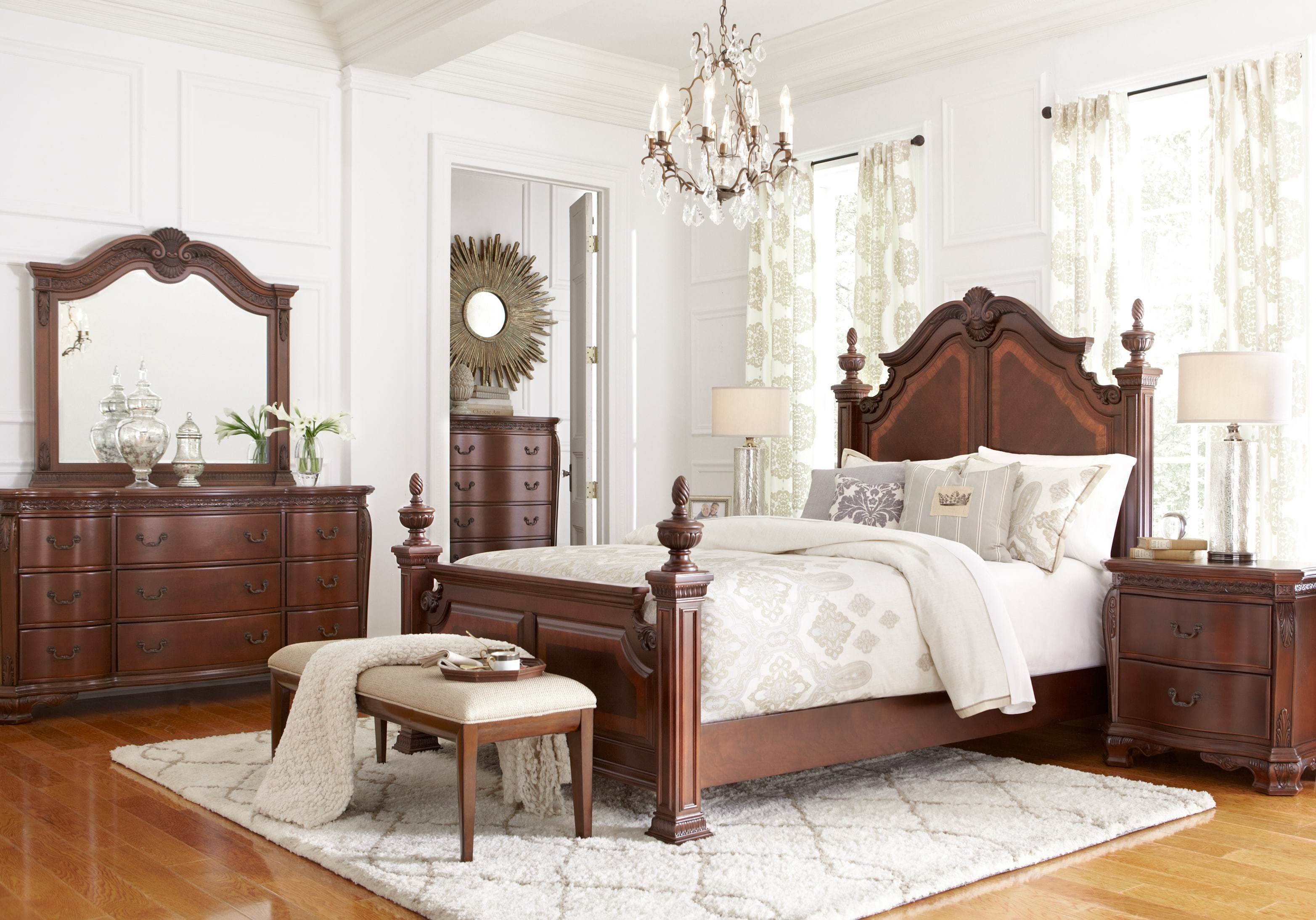 Best Cortinella Cherry 5 Pc King Poster Bedroom King Bedroom Sets Dark Wood With Pictures
