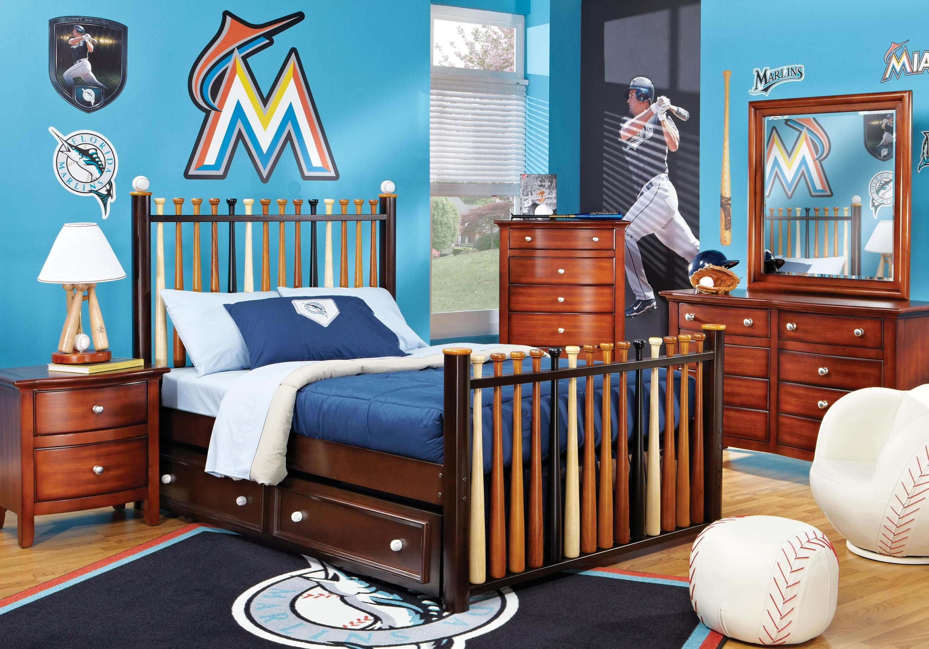 Best Batter Up Cherry 5 Pc Full Slat Bedroom Boys Bedroom With Pictures