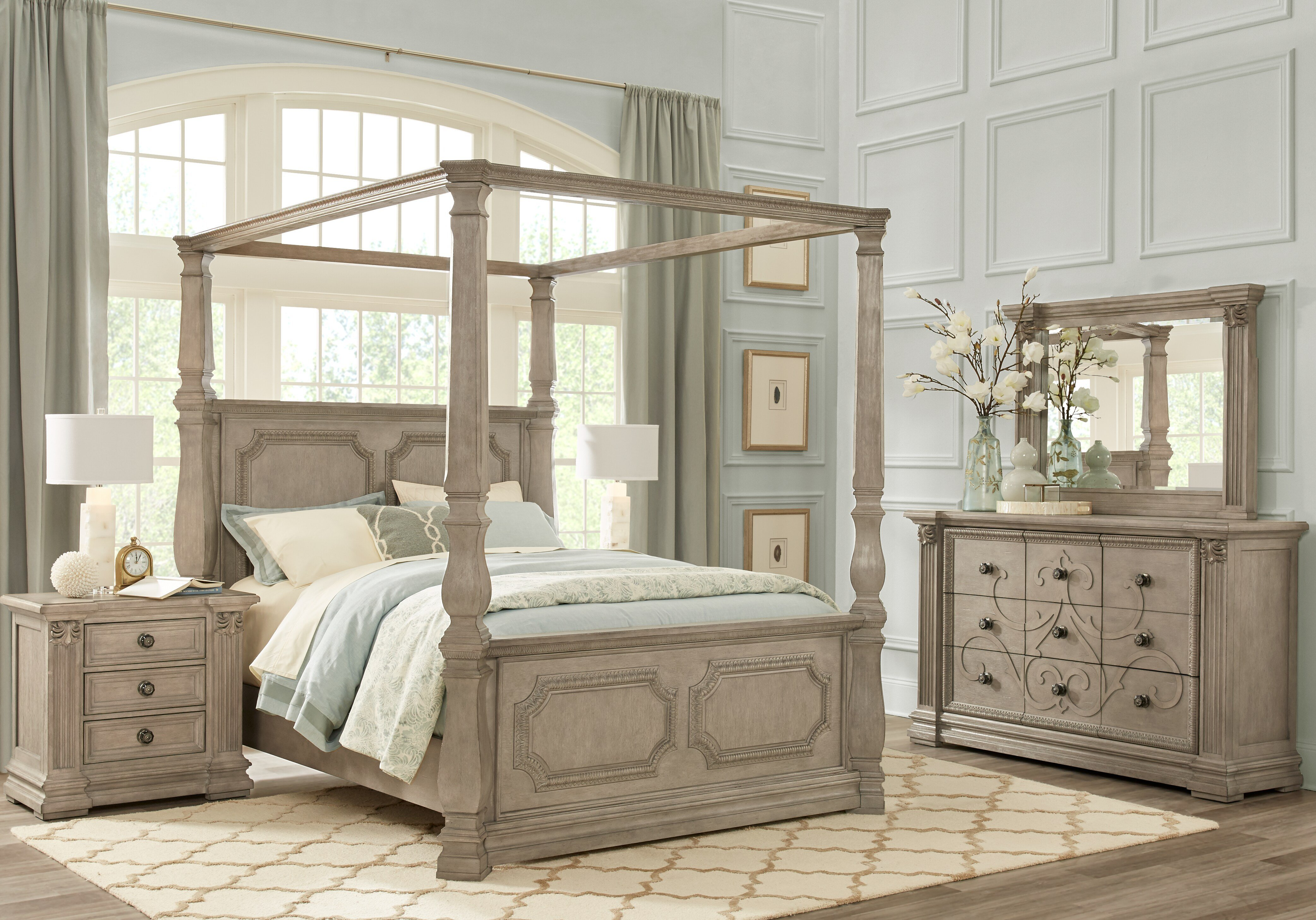 Best Havencrest Gray 7 Pc King Canopy Bedroom King Bedroom With Pictures