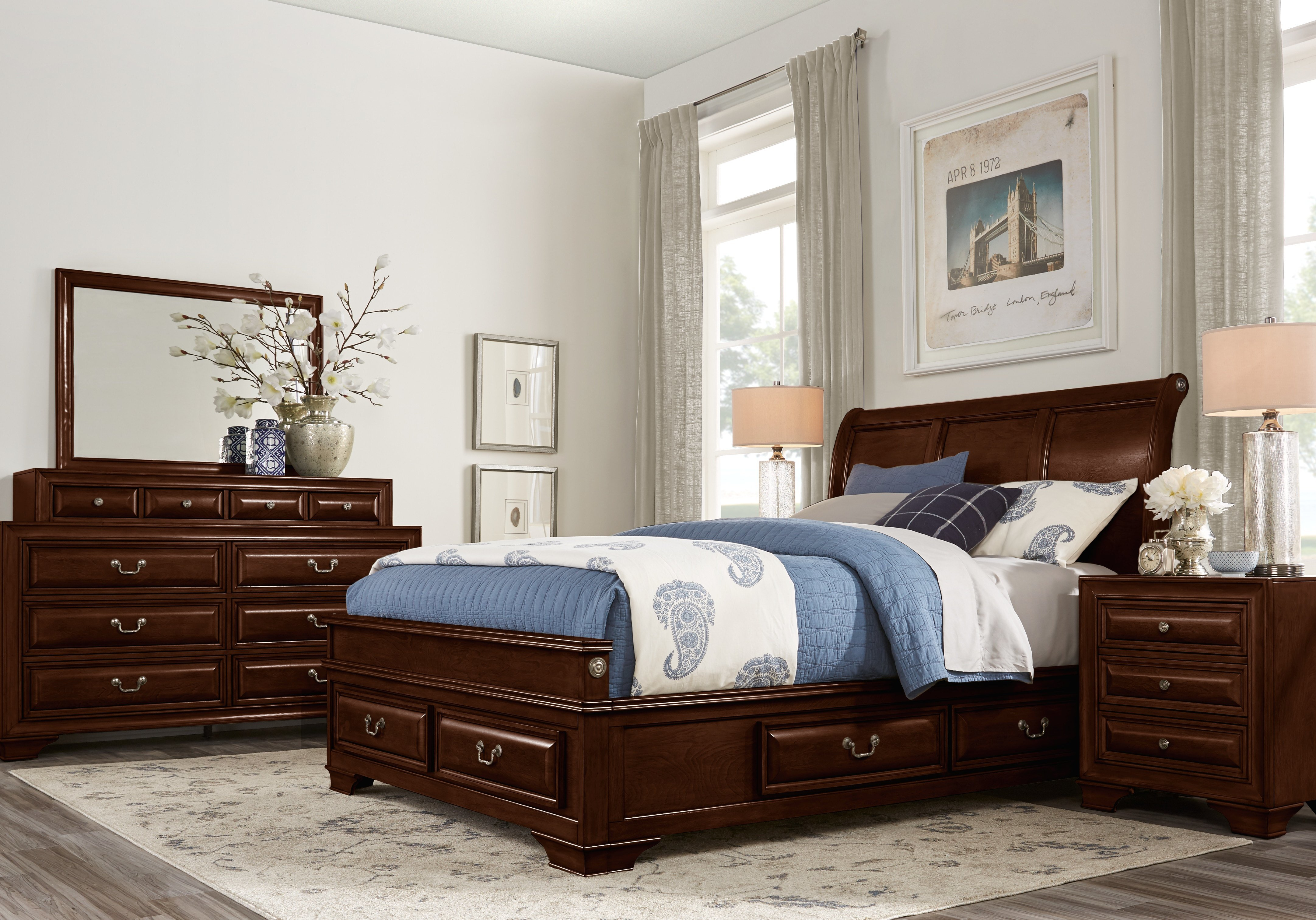 Best Mill Valley Ii Cherry 5 Pc Queen Sleigh Bedroom With With Pictures