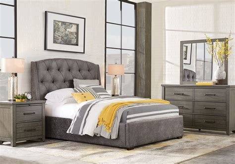 Best Urban Plains Gray 5 Pc Queen Upholstered Bedroom Queen With Pictures