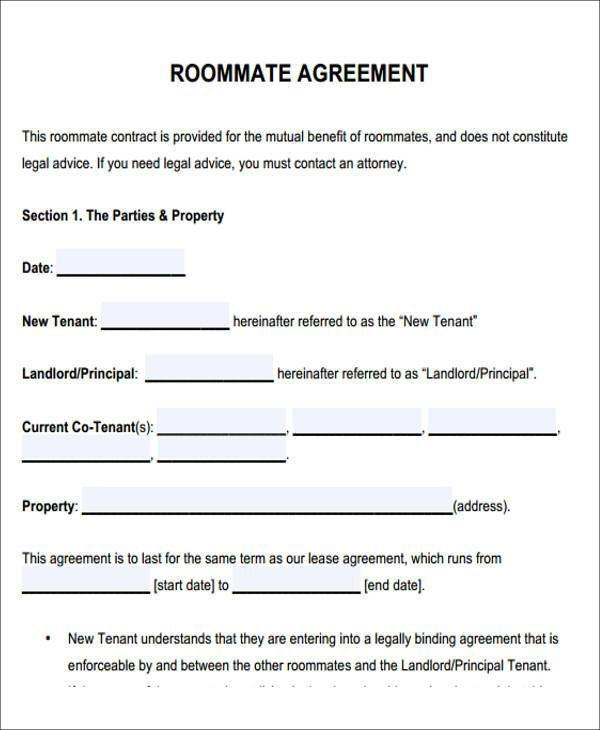 Best 7 Sample Roommate Rental Agreement Form Examples In With Pictures
