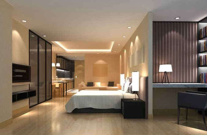 Best 3D Model Bedroom With Flat Screen Tv Cgtrader With Pictures