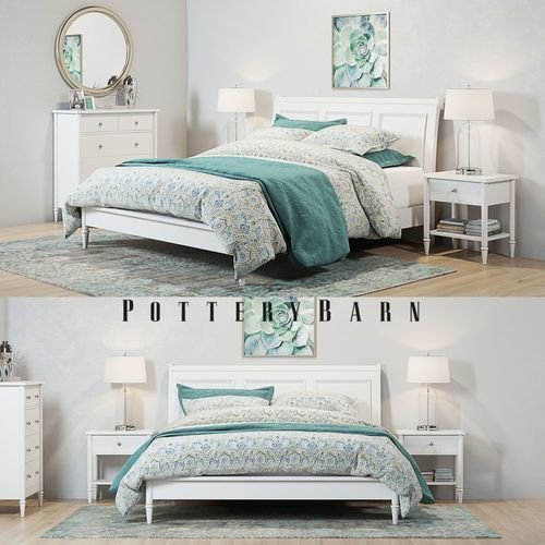 Best Pottery Barn Crosby White Bedroom Set 3D Cgtrader With Pictures