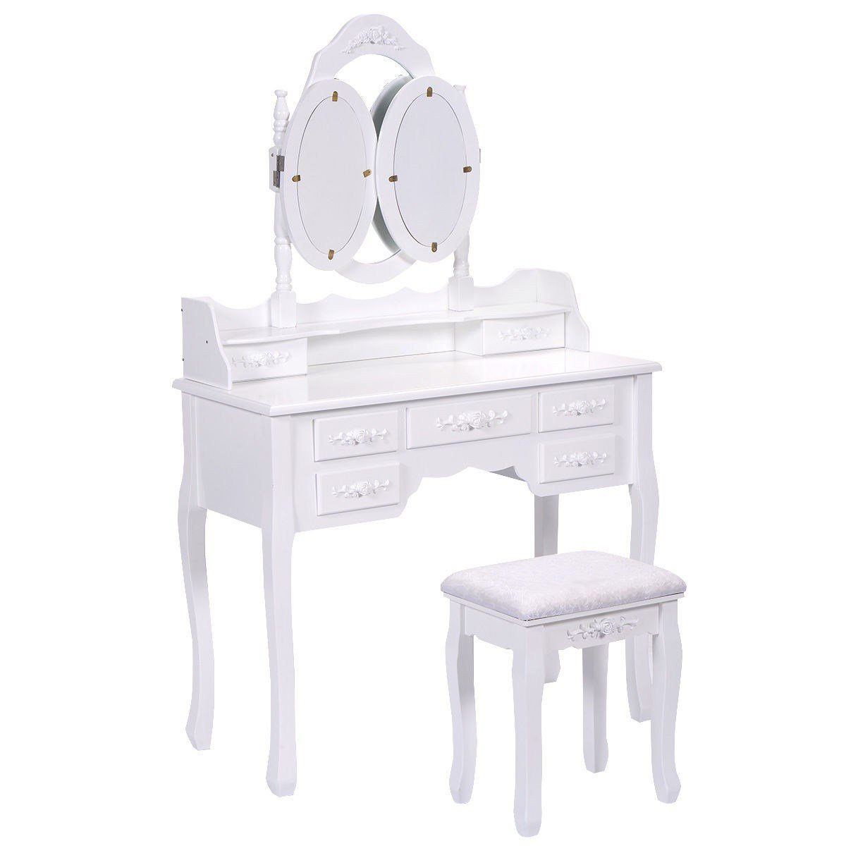 Best Vanity Makeup Dressing Table Set Wood Desk Stool 7 Drawer With Pictures