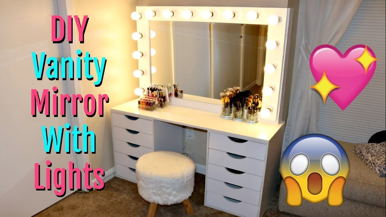 Best Diy Vanity Mirror With Lights Under 150 Youtube With Pictures
