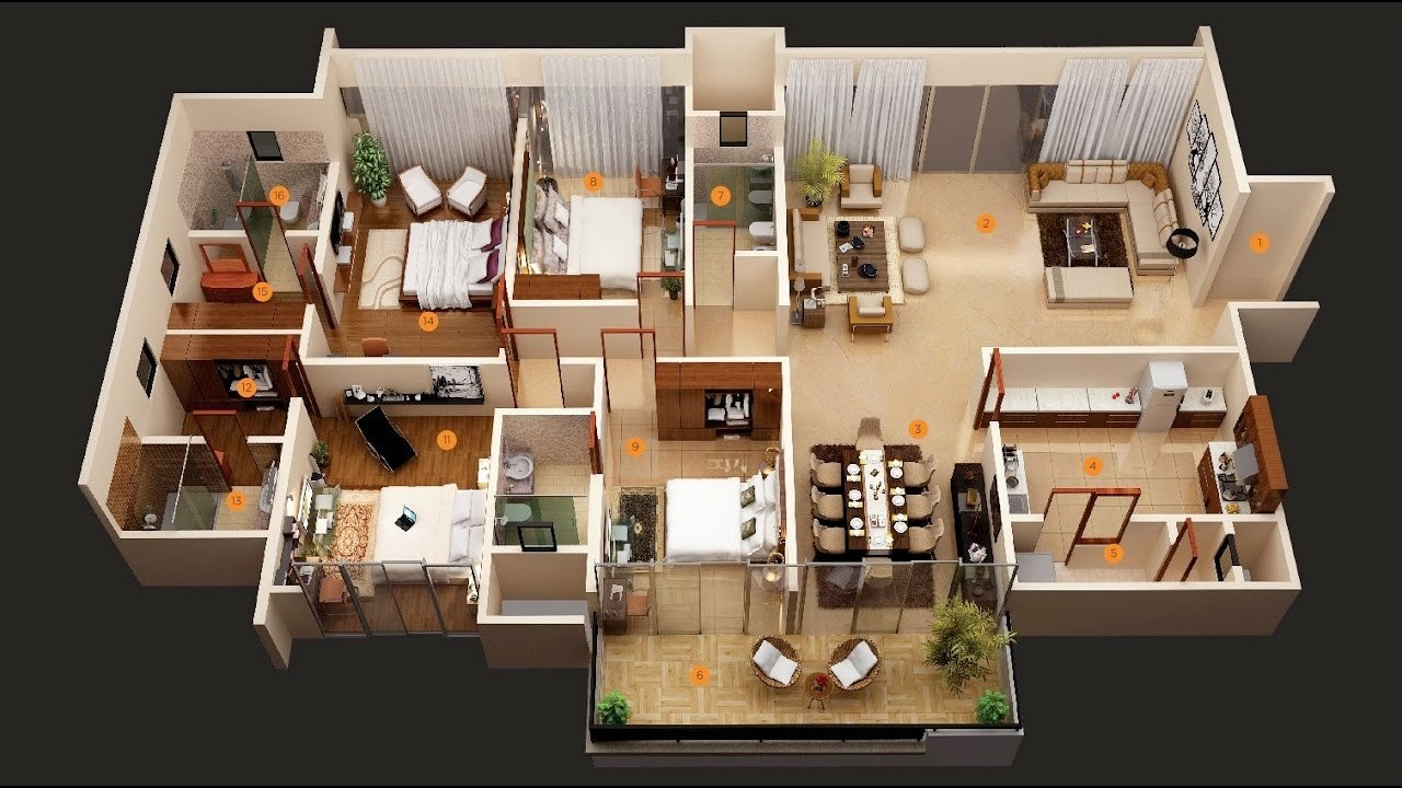 "Best 50 Four ""4"" Bedroom Apartment House Plans Architecture With Pictures"