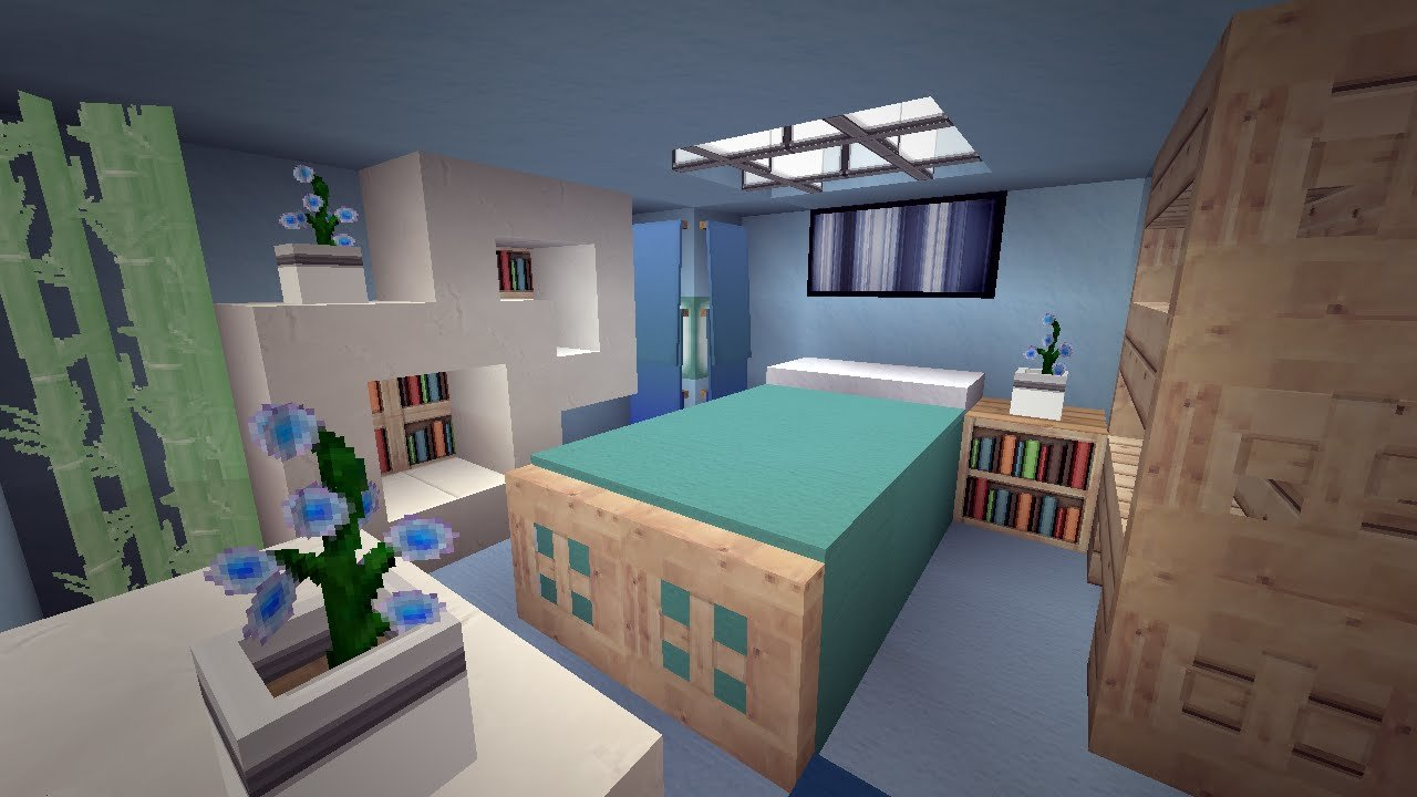 Best Minecraft Modern Cool Blue Bedroom Design Youtube With Pictures