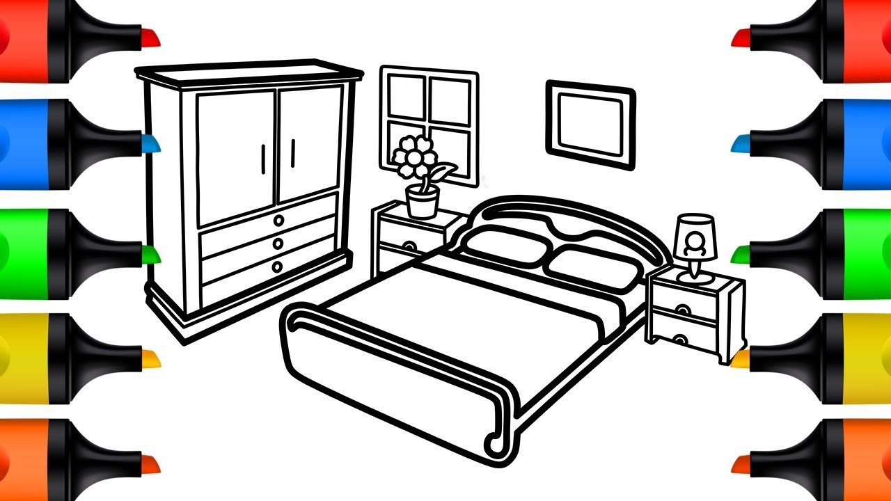 Best How To Draw Bedroom Coloring Pages For Kids Learn Colors With Pictures