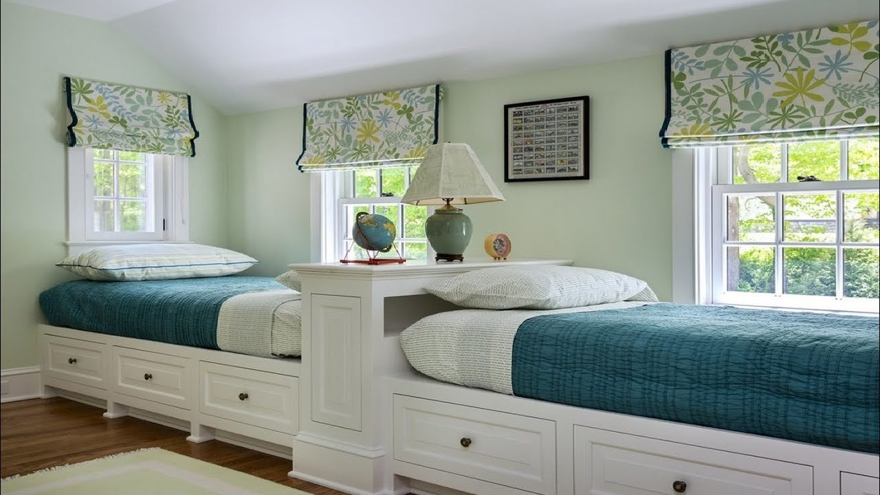 Best Cool Twin Bedroom Design With Double Bed For Teenage Room With Pictures