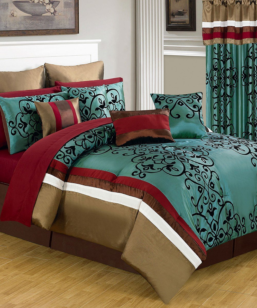 Best Lavish Home Teal Red Eve Lavish Bedroom Set Zulily With Pictures