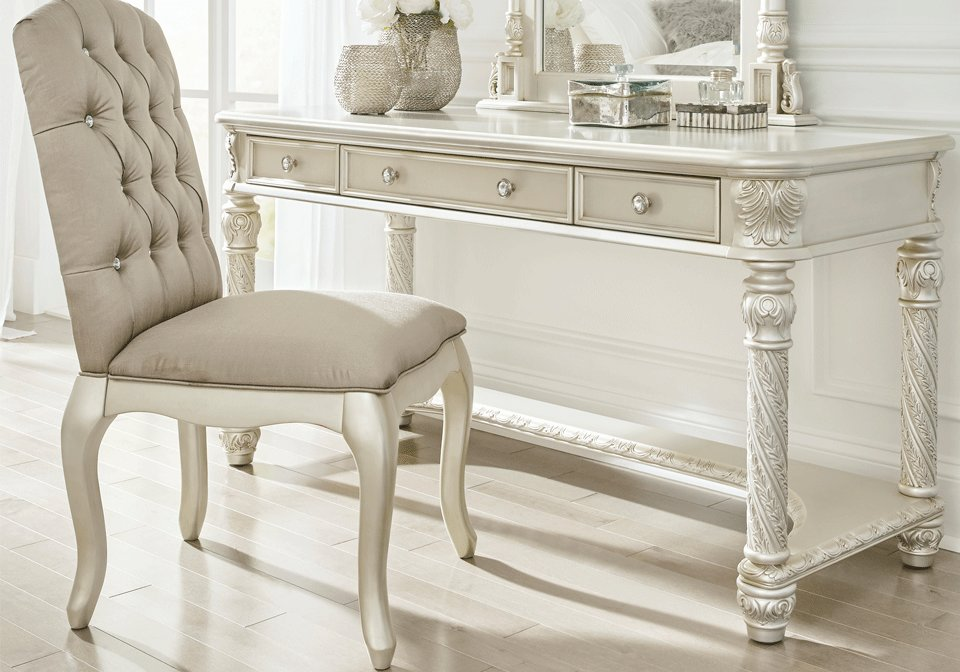 Best Cassimore Upholstered Vanity Chair Louisville Overstock With Pictures