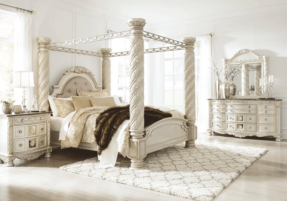 Best Cassimore King Canopy Bedroom Set Louisville Overstock With Pictures