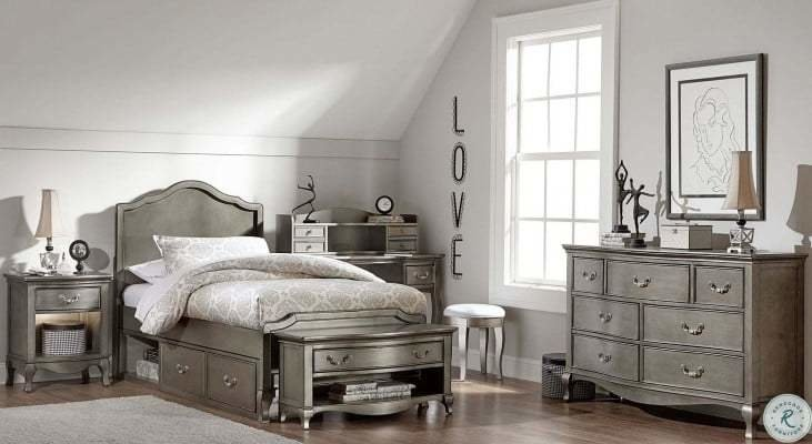 Best Kensington Antique Silver Charlotte Youth Panel Bedroom Set With Storage From Ne Kids Coleman With Pictures