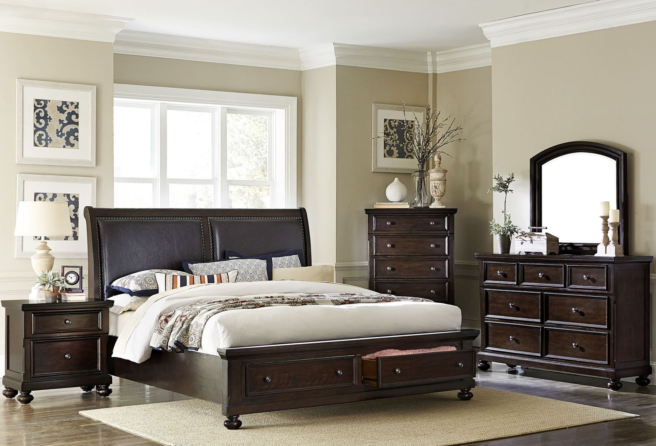Best Faust Dark Cherry Storage Platform Bedroom Set From Homelegance 1834 1 Coleman Furniture With Pictures