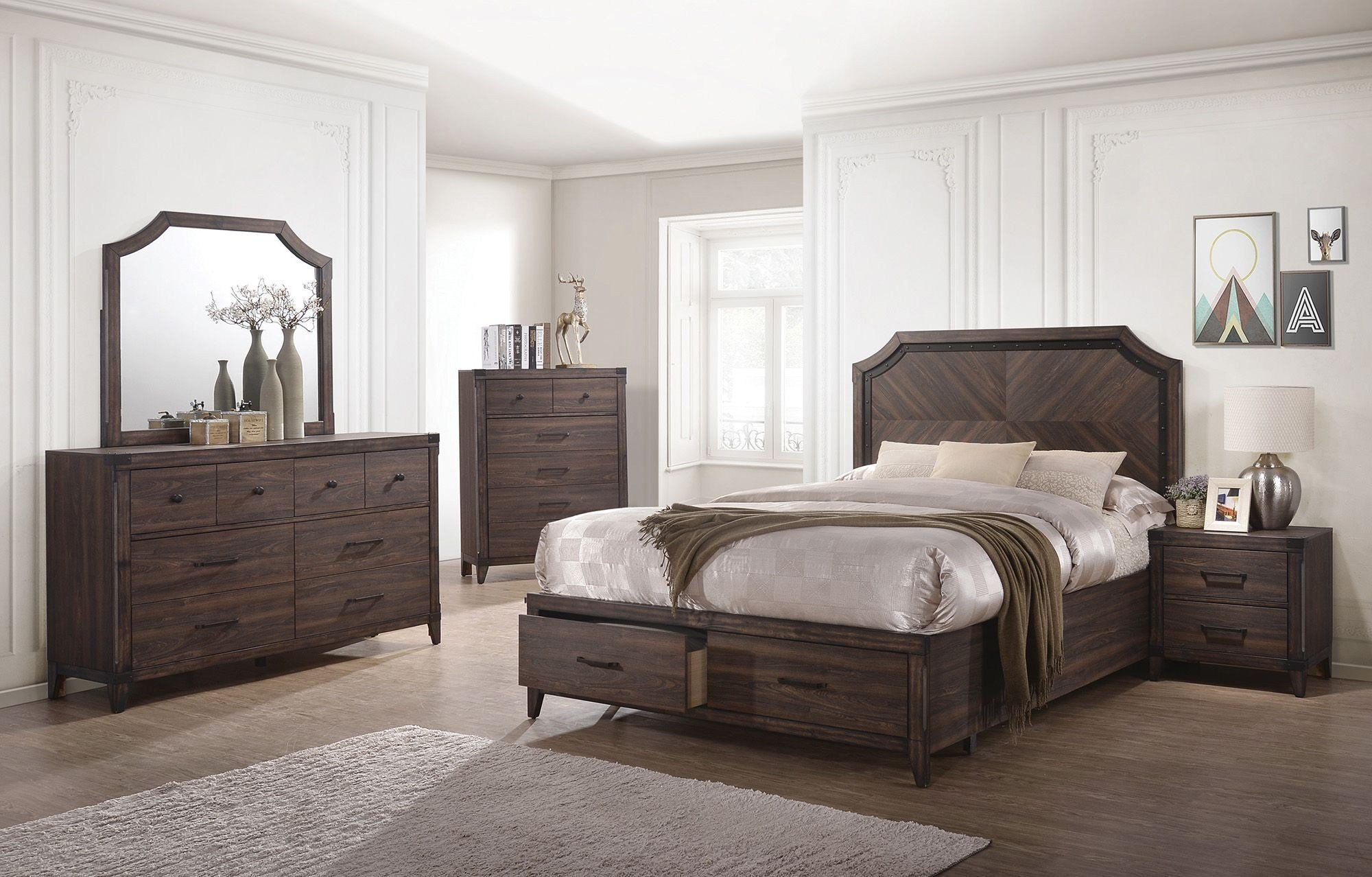 Best Richmond Dark Gray Oak Storage Panel Bedroom Set From With Pictures
