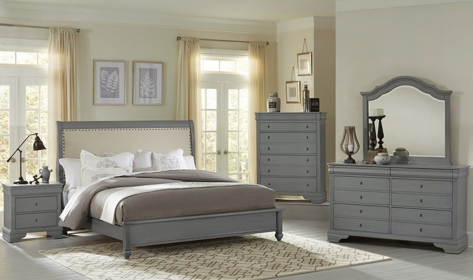 Best French Market Zinc Upholstered Panel Bedroom Set From With Pictures