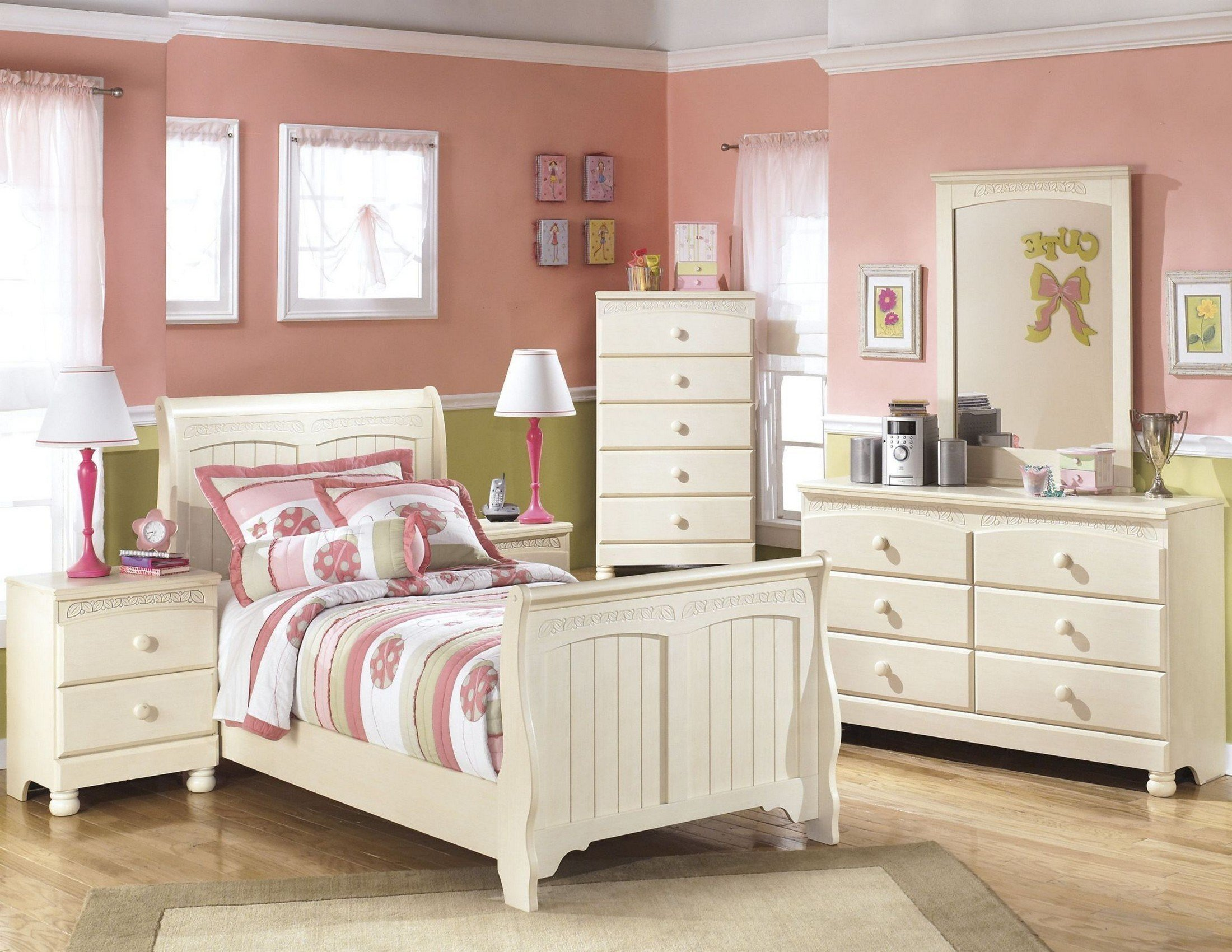 Best Cottage Retreat Youth Sleigh Bedroom Set From Ashley B213 62 63 82 Coleman Furniture With Pictures