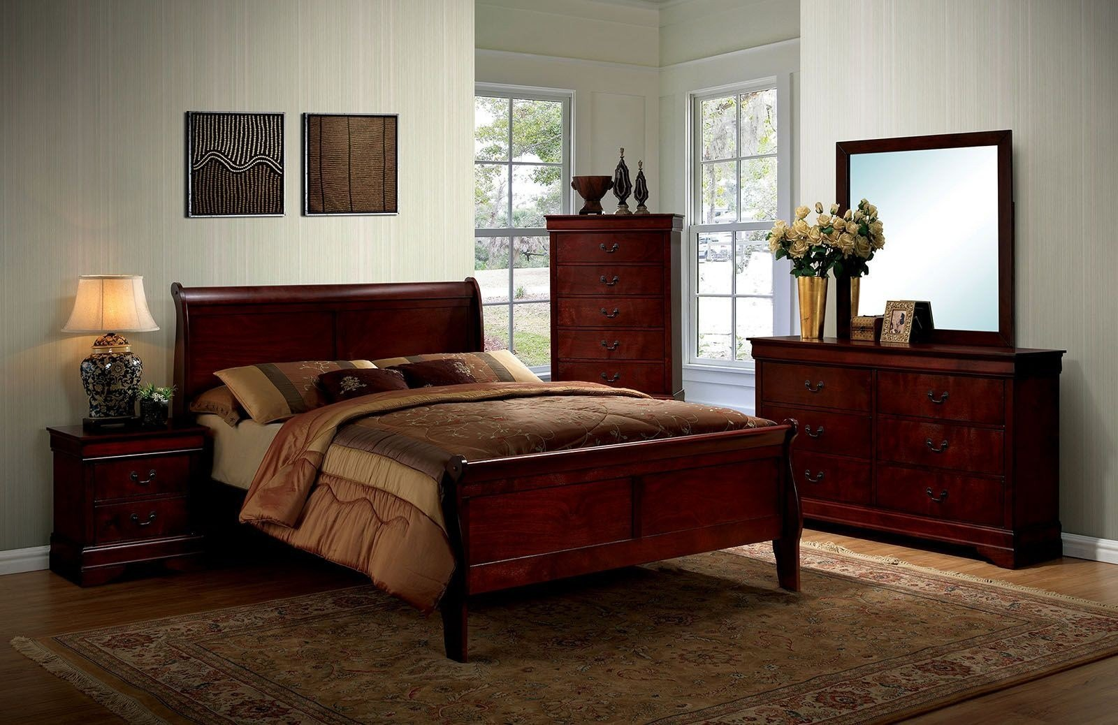 Best Louis Philippe Iii Cherry Panel Bedroom Set From Furniture With Pictures