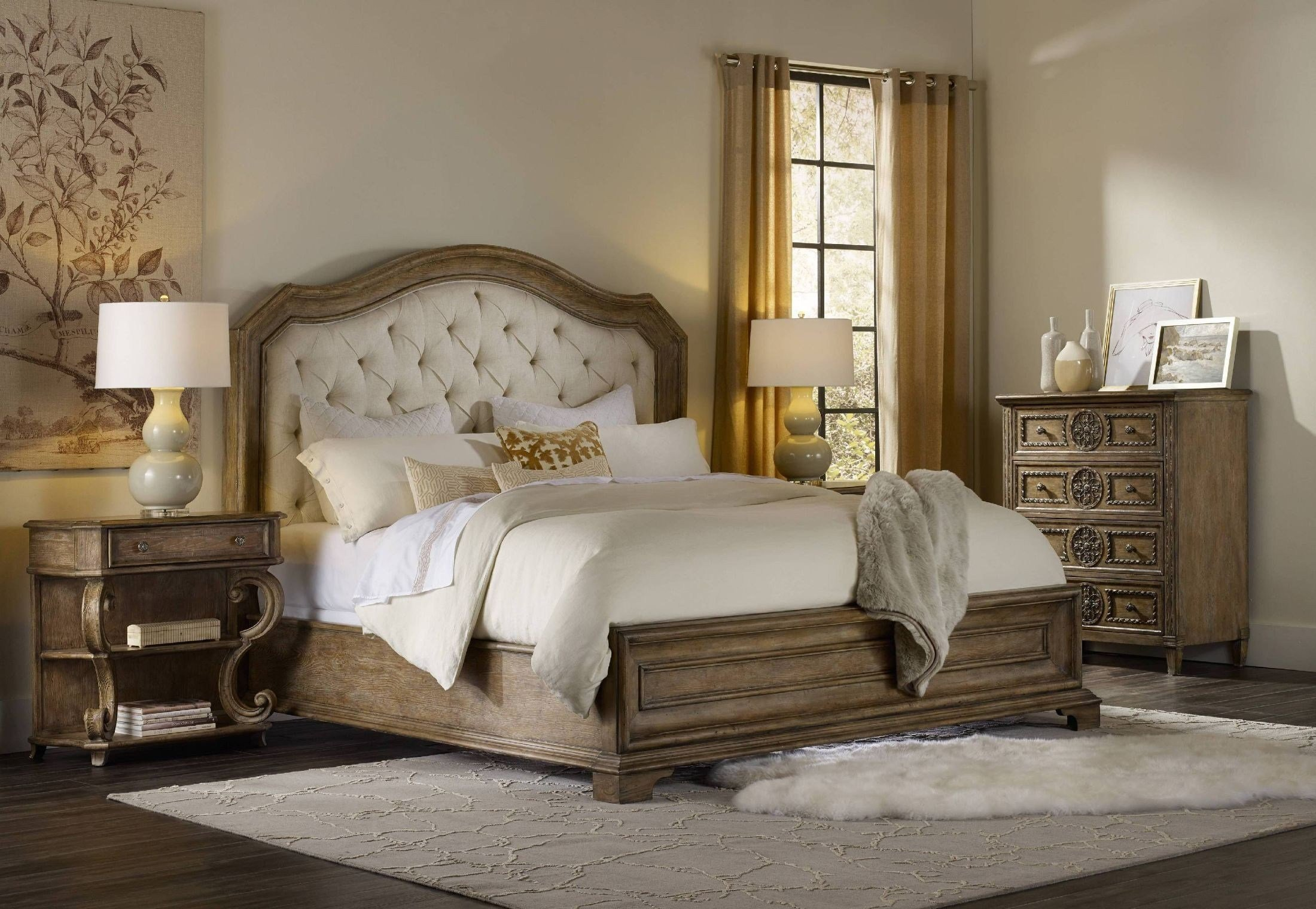 Best Solana Beige Upholstered Panel Bedroom Set From H**K*R Coleman Furniture With Pictures