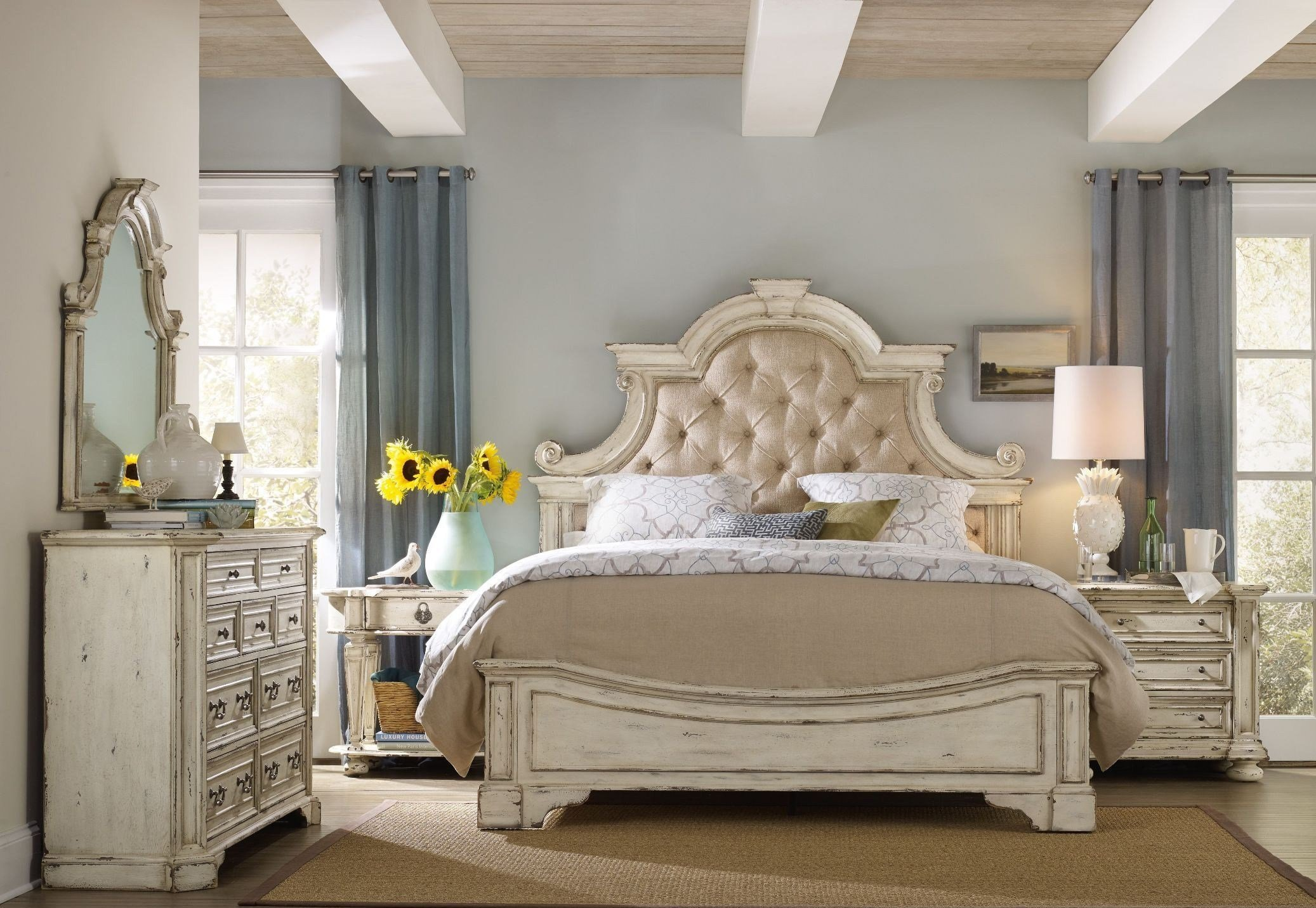 Best Sanctuary Beige Upholstered Panel Bedroom Set From H**K*R With Pictures