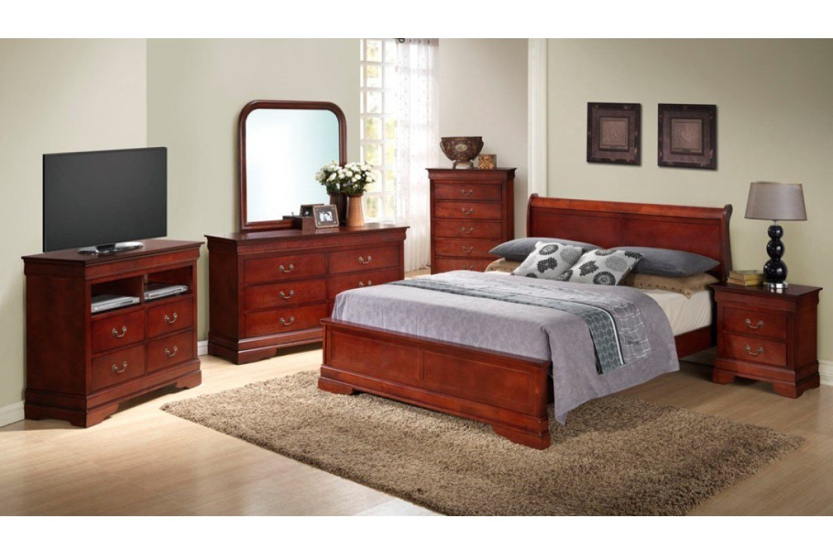 Best Bedroom Sets Dawson Cherry Queen Size Platform Look With Pictures