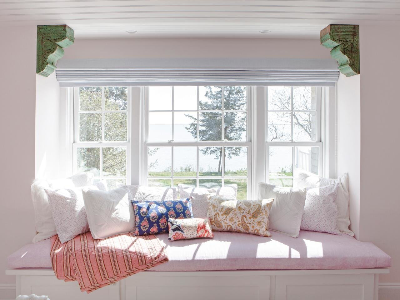 Best Spacious Window Seat With Stylish Patterned Pillows Hgtv With Pictures