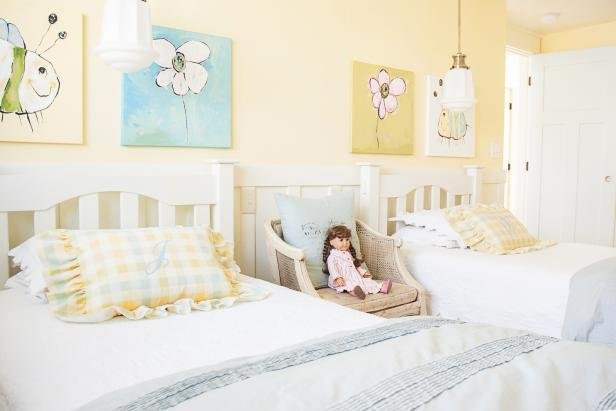Best Girls Pastel Yellow Room Features Country Charm Hgtv With Pictures